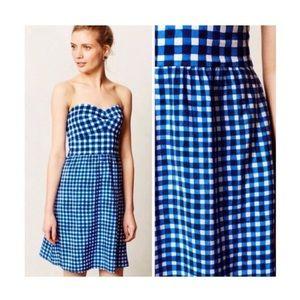 Hutch Bennington blue gingham strapless dress 8